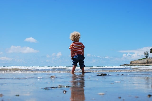 A young boy standing on a beach